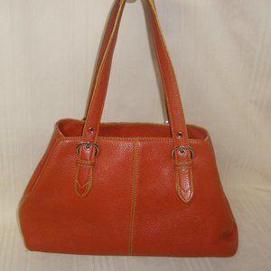 Cole Haan  Orange Leather Shoulder Bag Purse
